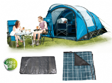 Package Deal - Royal PORTLAND AIR 4 BERTH Camping Tent + FREE Footprint Groundsheet & Tent Carpet
